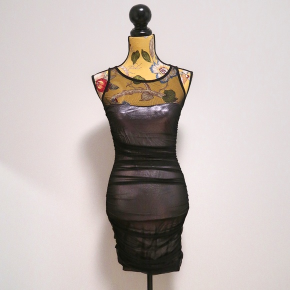 XOXO Dresses & Skirts - XOXO Sheer Mesh Bodycon Dress Black Size Small